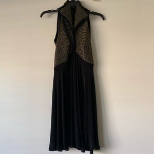 Tadashi Vintage high collar dress black and gold